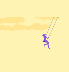 young woman swinging vector image