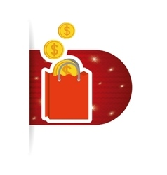 online buy bag gift money coins vector image