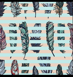 seamless pattern with feathers and stripes vector image vector image