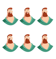 set of beard man face icons vector image vector image