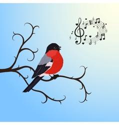 Singing bullfinch bird on a tree branch vector image vector image