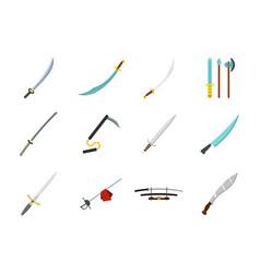 sword icon set flat style vector image