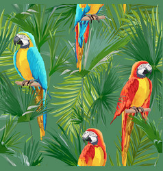 tropical seamless parrot and floral summer pattern vector image
