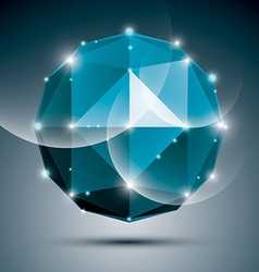 Abstract 3D sapphire festive sphere with sparkles vector image vector image