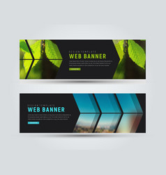 template of black horizontal web banners with vector image vector image