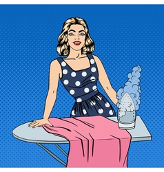 Woman Ironing Clothes Girl Doing House Work vector image vector image