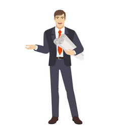 businessman holding the project plans and vector image