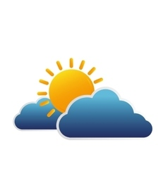 clouds and sun isolated icon vector image vector image