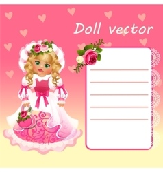 Cute doll Princess in pink dress with card vector image vector image
