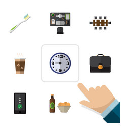flat icon life set of briefcase cappuccino beer vector image vector image