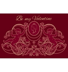 Happy Valentines day card in vintage rich royal vector image vector image