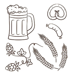 Octoberfest cartoon beer design elements vector image