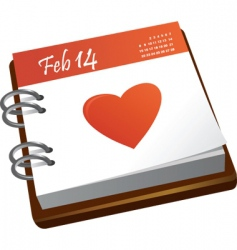 valentines calendar with a heart vector image vector image