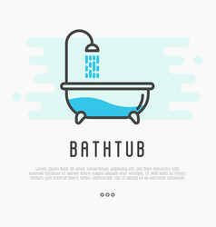 bathtub and shower with running water vector image vector image