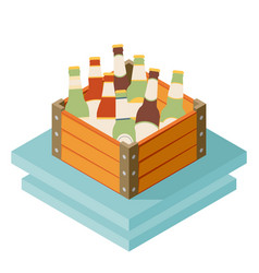 Color isometric icon with case of dark beer with vector
