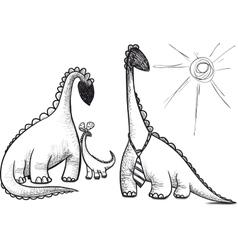 family dinosaur vector image