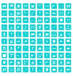 100 construction icons set grunge blue vector