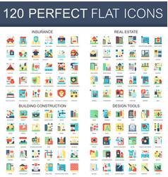 120 complex flat icons concept symbols of vector image