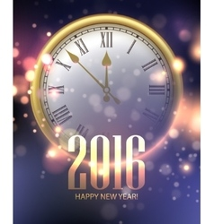 2016 Happy New Year background with clock vector