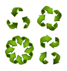 3d recycle icons green arrows recycling vector image