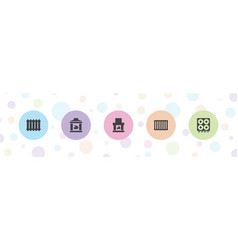 5 oven icons vector