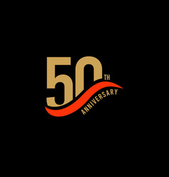 50 year anniversary gold template design vector