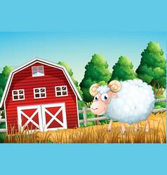 A sheep at farmland vector