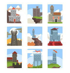 Ancient castles and fortresses set medieval vector
