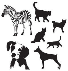 animal silhouette set vector image