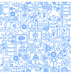 artificial intelligence ai line seamless pattern vector image