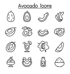 avocado icon set in thin line style vector image
