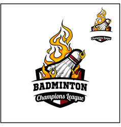 Badminton ball flame badge vector