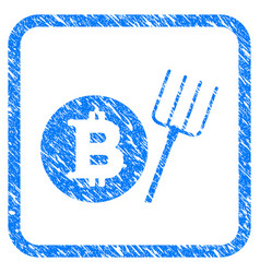 bitcoin pitchfork framed stamp vector image