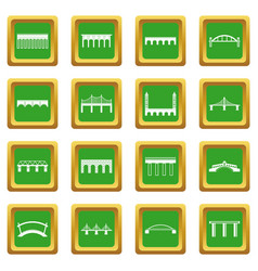 Bridge set icons set green vector