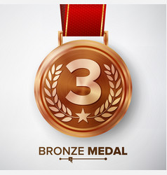 Bronze medal metal realistic third vector