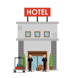 building bellboy baggage hotel icon vector image
