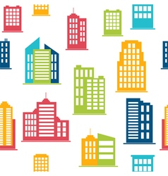 Building icons Seamless pattern with city vector