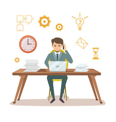Busy manager work with documents vector