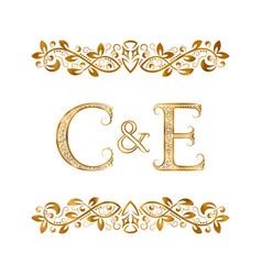 C and e vintage initials logo symbol letters c vector