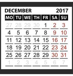 calendar sheet December 2017 vector image