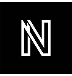 Capital letter N From the white interwoven strips vector