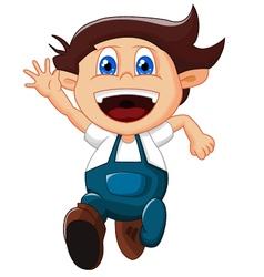 cartoon little boy gesturing on white background vector image