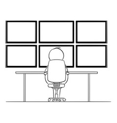 Cartoon man hacker or businessman sitting vector