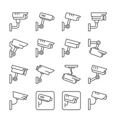 cctv camera linear icons set vector image