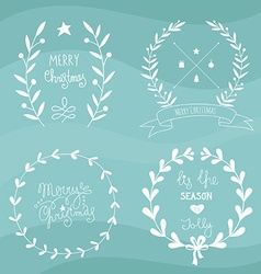 Christmas design elements and lettering vector image