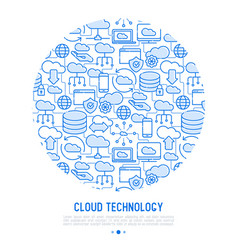 Cloud computing technology concept in circle vector