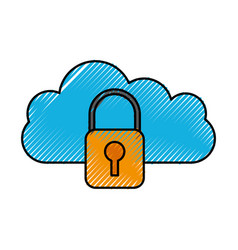 cloud padlock security protection system vector image