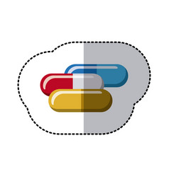 colorful capsules treatment icon vector image