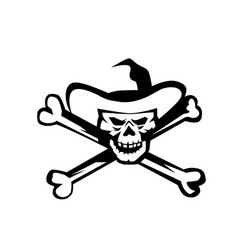 cowboy pirate skull cross bones retro vector image