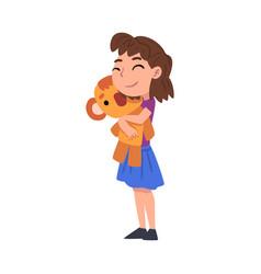 Cute girl hugging favorite soft plush toy cartoon vector